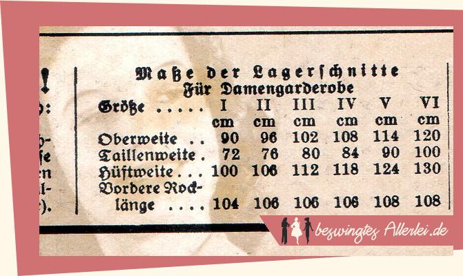 Maße 1940 Praktische Damenmode